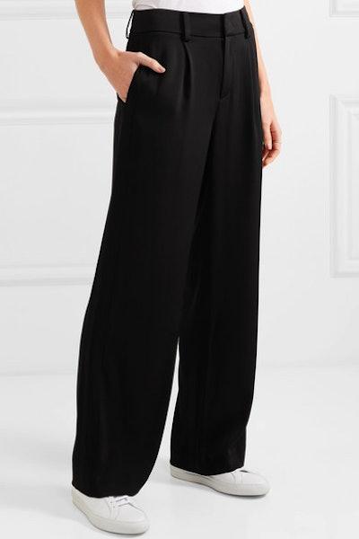 Satin-Crepe Wide-Leg Pants