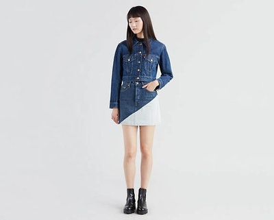 Deconstructed Mini Skirt in Two Tone Skirt