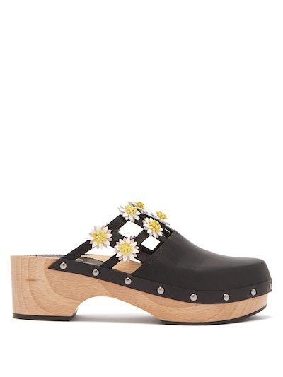 Jean Floral Applique Leather Clogs