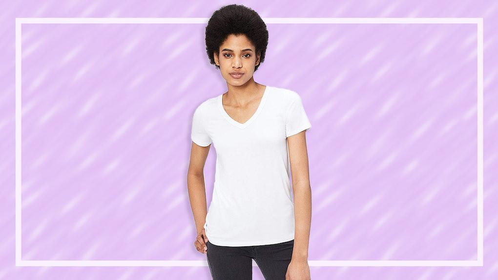 b7c81f0cd448 The 5 Best Women's White V-Neck T-Shirts