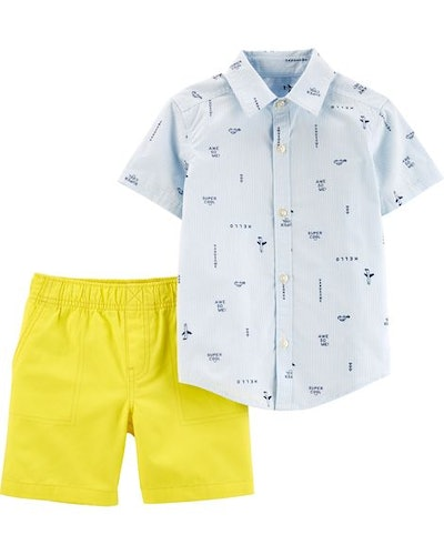 Baby Boy 2-Piece Striped Button-Front & Canvas Short Set