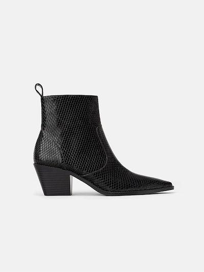 Animal Print Cowboy Heeled Ankle Boot