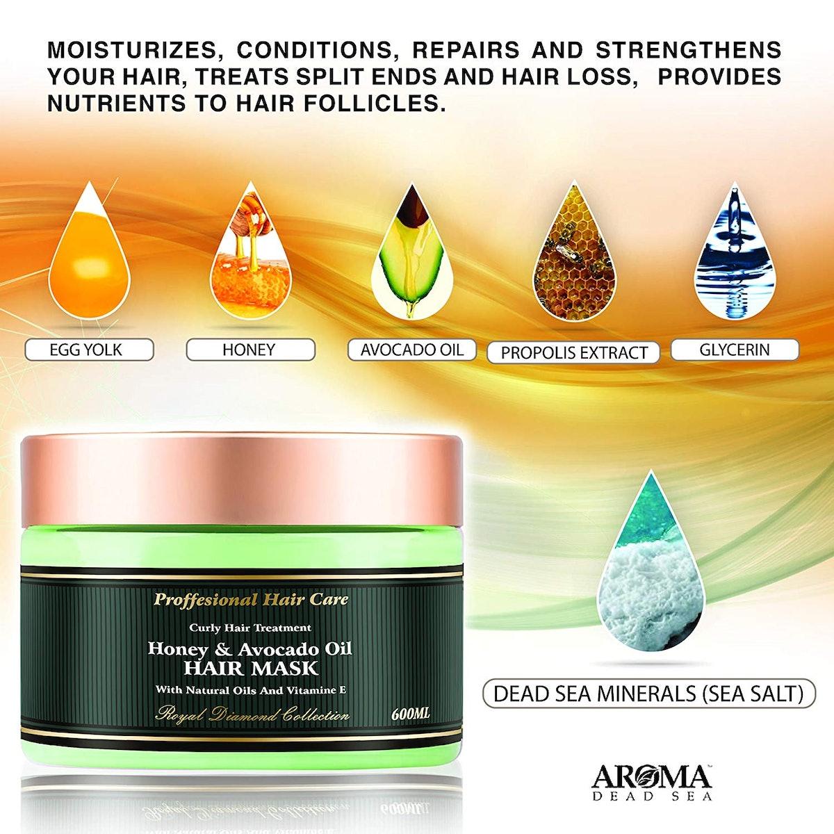 Aroma Dead Sea Premium Natural Honey & Avocado Oil Hair Mask