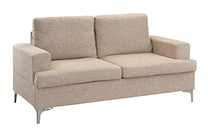 Mid Century Modern Linen Fabric Loveseat Couch By Casa Andrea Milano