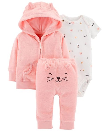Baby Girl 3-Piece Terry Little Cardigan Set