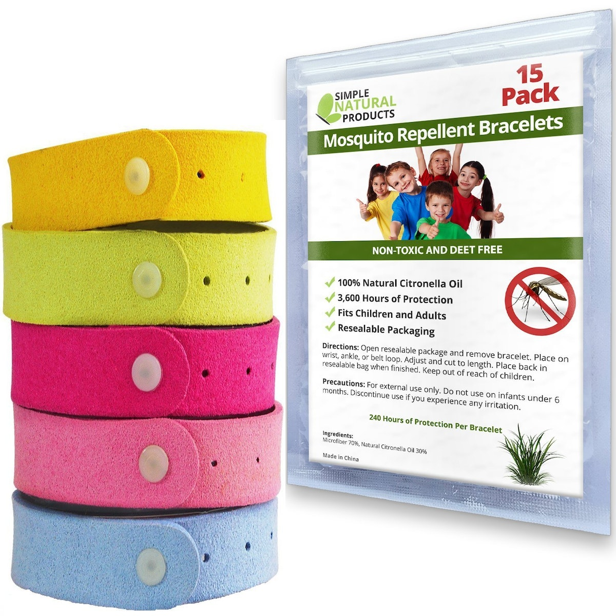 Simple Natural Products Mosquito Repellent Bracelets (15 Pack)