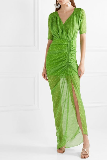 Elke Ruched Polka-Dot Chiffon Maxi Dress