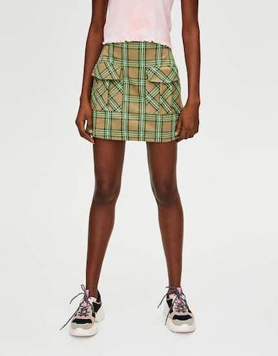 Neon Check Mini Skirt