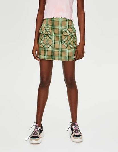 Neon Check Mini Skirt