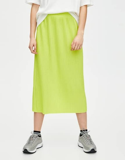 Neon Pleated Midi Skirt