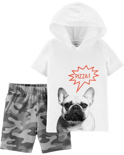 Toddler Boy 2-pIece French Bulldog Hoodie & Camo Short Set