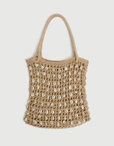 Tote Bag With Seashell Beads