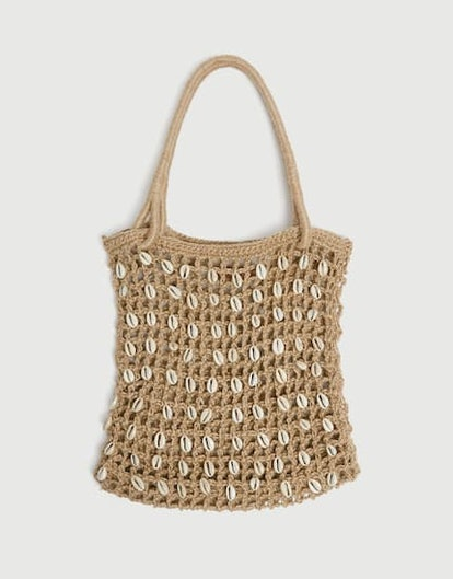 Tote Bag With Seashell Beads