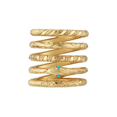 Three band Ouroboros ring in yellow gold