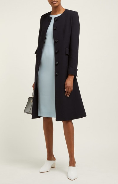 Hampton Single-Breasted Wool-Crepe Coat
