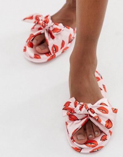 ASOS DESIGN Nelma asymmetric bow slippers