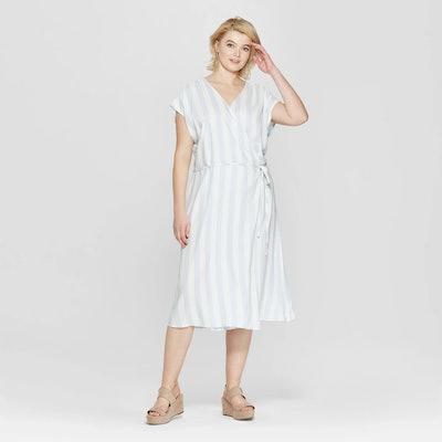 Ava & Viv Women's Plus Size Striped Short Sleeve V-Neck Wrap Maxi Dress