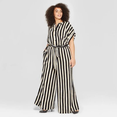 Who What Wear Plus Size Striped Short Sleeve Belted Wide Leg Jumpsuit