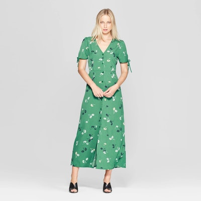 Who What Wear Floral Print Short Tie Sleeve V-Neck Button Detail Maxi Dress
