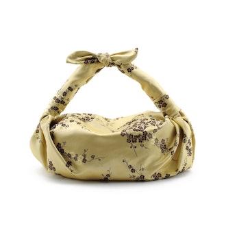 Cherry Blossom Silk Cloqué Knot Bag