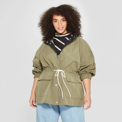 Who What Wear Women's Plus Size Duo Front Pocket Button Snap Detail Stand Collar Utility Anorak Jacket