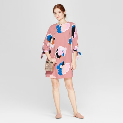 A New Day Floral Print Long Sleeve Crepe Dress