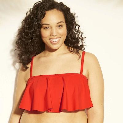 Xhilaration Women's Plus Size Bandeau Flounce Bikini Top