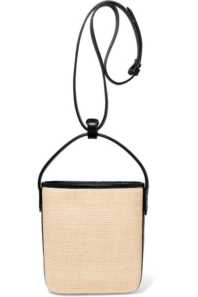 Saigon Woven Raffia And Leather Shoulder Bag