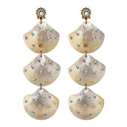 Earrings with shell pendants