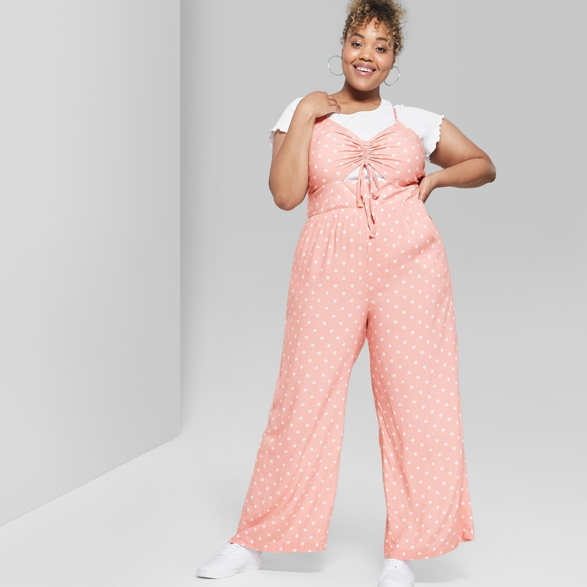 Wild Fable Polka Dot Plus Size Strappy Ruched Front Cutout Jumpsuit