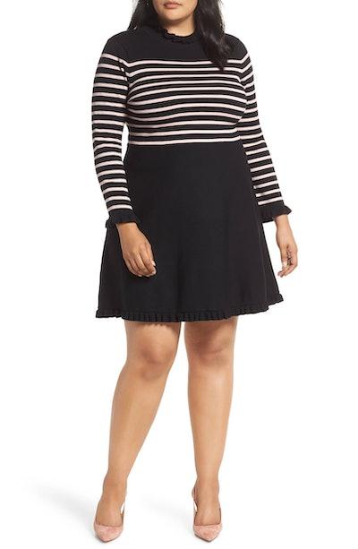 Mock Neck Stripe Sweater Dress