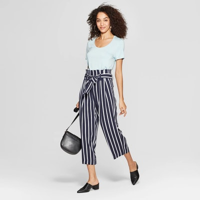 A New Day Striped Wide Leg Paperbag Crop Pants