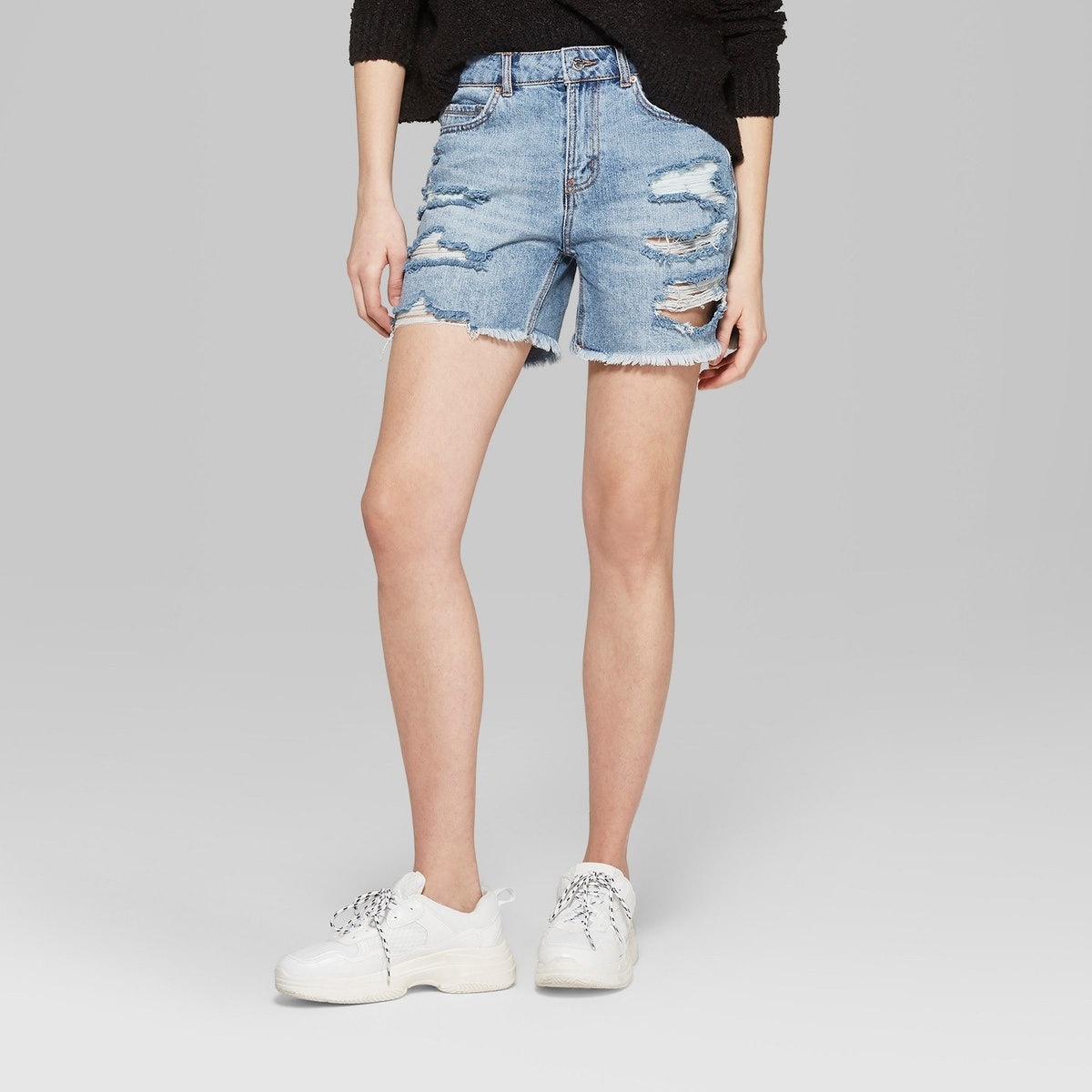 Wild Fable High-Rise Destructed Relaxed Longer Length Jean Shorts