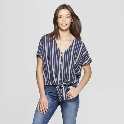 Universal Thread Women's Striped Short Sleeve Tie Front Top