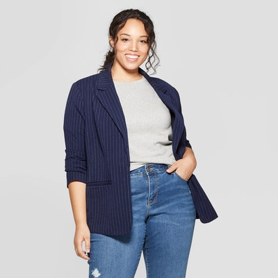 Ava & Viv Plus Size Striped Blazer