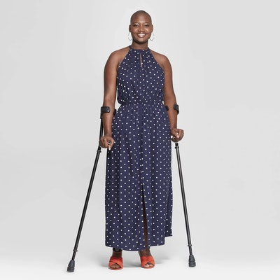 Ava & Viv Women's Plus Size Polka Dot Sleeveless Slit Maxi Dress
