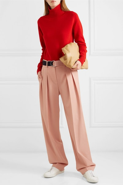Belted Pleated Tapered Pants