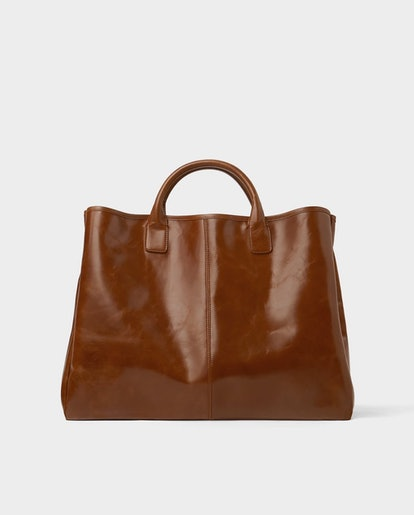 Brown Leather Dress Shopper Bag