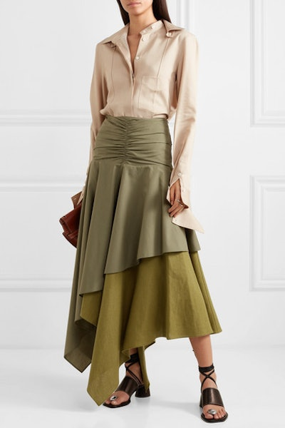 Asymmetric Ruffled Poplin and Linen Skirt