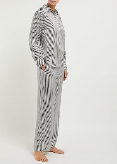 Striped Sandwashed Silk-Satin Pyjama Shirt & Trousers