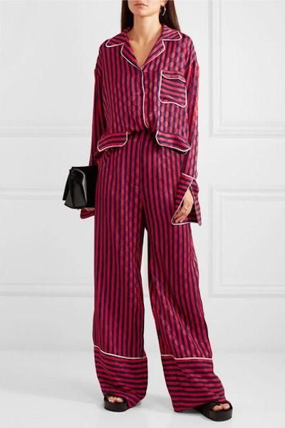 Oversized Striped Flocked Satin Shirt & Pajama Pants