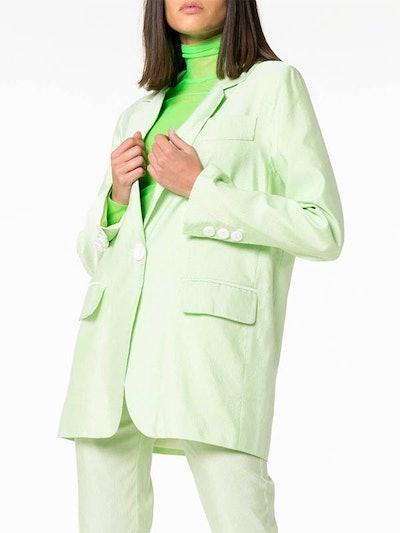 Single Button Cotton Blend Blazer