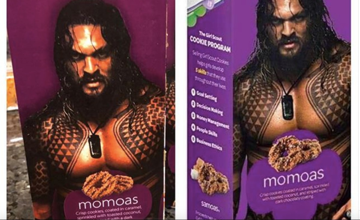 This Girl Scout Used A Shirtless Jason Momoa Photoshop To Sell Cookies & It Is Genius