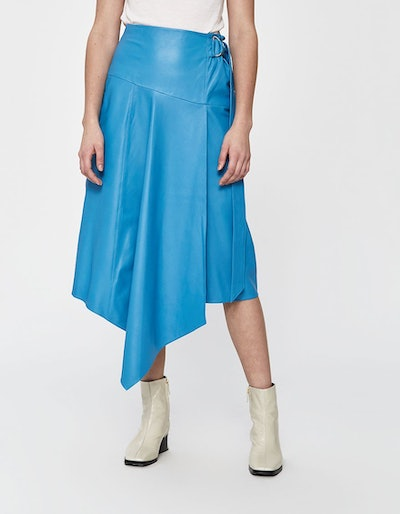 Tissue Leather Asymmetric Drape Skirt