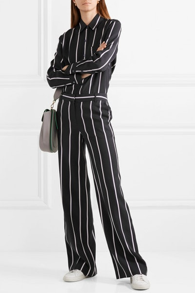 Bradner Striped Twill Shirt & Arwen Striped Twill Wide-Leg Pants