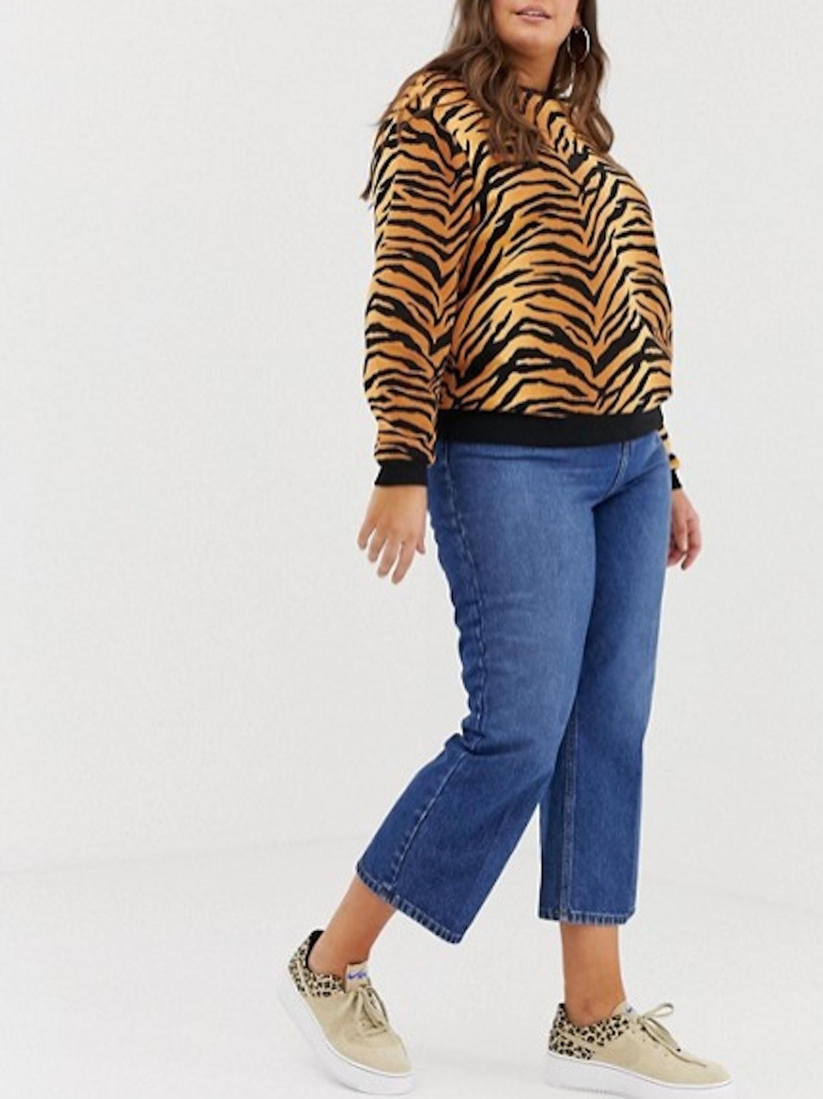 Sweatshirt In All Over Animal Tiger Print