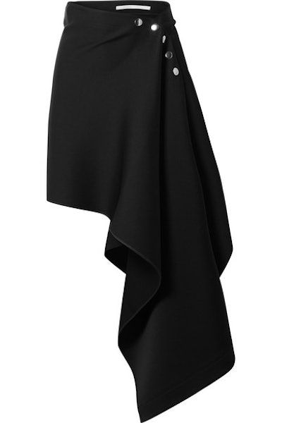 Asymmetric Satin-Crepe Skirt