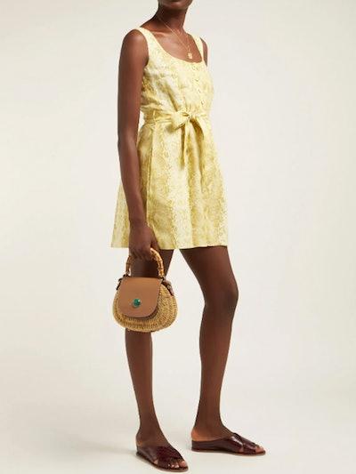 Snakeskin-Print Linen Dress