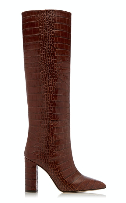 Croc-Embossed Leather Knee Boots