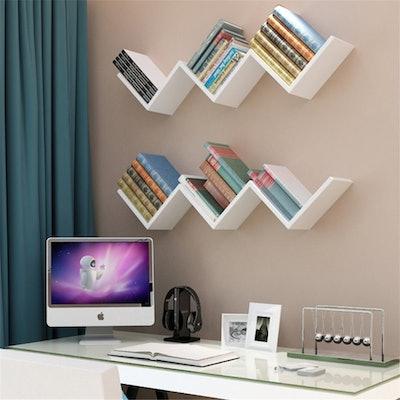 EECOO Fashionable Creative Floating Wall Shelf Rack Organizer Hanging Bookshelf